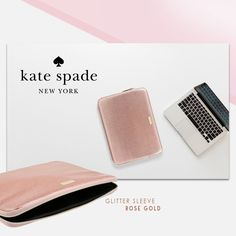 New in stock Kate Spade Glitter Sleeve series for Macbook Pro/Air 13 inch  Available in Rose Gold