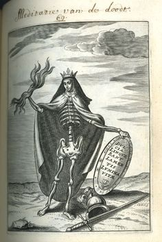 Dutch Emblems Emblem; Meditation of Death; a skeleton wearing nun's clothing and a crown, holding a shield in her one hand, lightning in the other, a feathered helmet and a sword are lying on the ground in front of her Engraving 1600-1625 (c.)