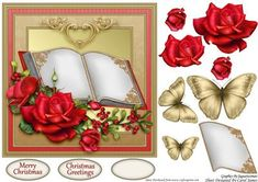 Christmas Book on Craftsuprint designed by Carol James - A beautifully simple Christmas 7 x 7 topper with decoupage pieces and 2 sentiment tags (plus a blank tag)Sentiments include:Merry ChristmasChristmas Greetings - Now available for download!
