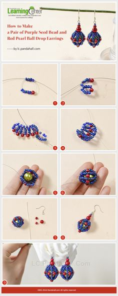 How to Make a Pair of Purple Seed Bead and Red Pearl Ball Drop Earrings