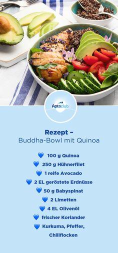 Was bringt schon jetzt den Sommer auf den Tisch und liefert wertvolle Inhaltsstoffe?🌤🥑 Unsere leckere Buddha-Bowl mit Quinoa, Hähnchen (oder Tofu) und Avocado. Dank des Superfood Quinoa ist sie besonders reich an Magnesium, Eisen, Folsäure und Calcium – alles sehr wichtig während der Schwangerschaft. 💪 Das Rezept findest du hier! #aptaclub #aptaclubat #schwangerschaft #mamaleben #heutefürmorgenvorbereiten #nurdasbestefürmeinbaby #schwangerschaftsessen Baby Food Recipes, New Recipes, Dinner Recipes, Healthy Recipes, Eating For Weightloss, Fodmap Recipes, Le Diner, Eating Habits, Food Inspiration