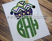 Boy's or Girl's Mardi Gras Monogram Shirt - Monogram Shirt - Applique Design
