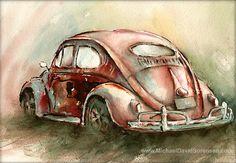 Acuarela. Autos antiguos.