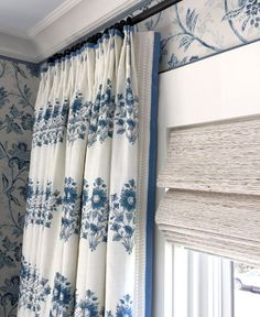 Window treatments and trends from three major show houses Mark Sikes blue and white drapery panel with trim window treatments Drapery Panels, Curtains With Blinds, Burlap Curtains, Bedroom Curtains, Curtain Trim, Metal Curtain, Curtain Call, White Curtains, Curtain Rods