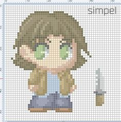 Sam Winchester supernatural by Simpelway on DeviantArt Cross Stitch Art, Beaded Cross Stitch, Cross Stitch Designs, Cross Stitching, Cross Stitch Embroidery, Cross Stitch Patterns, Supernatural Crafts, Winchester Supernatural, Sam Winchester