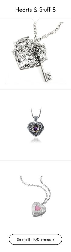 """""""Hearts & Stuff 8"""" by my-shiny-shackles ❤ liked on Polyvore featuring hearts, valentine, jewelry, necklaces, heart shaped jewelry, heart jewelry, heart key necklace, lock necklace, heart shaped key necklace and accessories"""