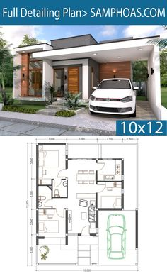 3 Bedrooms Home Design Plan 10x12m - SamPhoas Plansearch
