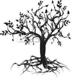 Illustration conceptuelle de l'arbre de vie. Une couleur.