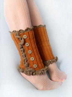 Autumn+Glory++Ruffled+Leg+Warmers+Spats+hand+knit+by+Raven666,+$28.00