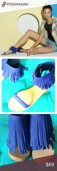 Kate Spade Blue Fringe Sandals 8 Adorable Kate Spade New York sandals in soft suede leather with fringed cuff & side zipper, Size 8.  More great shoes in my closet!  Bundle & Save! :) kate spade Shoes Sandals