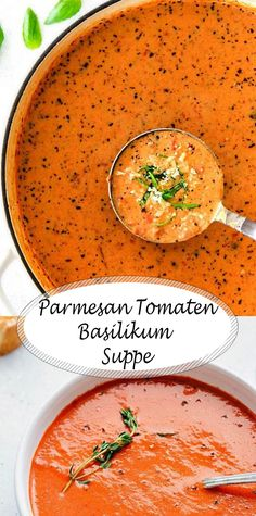 Parmesan Tomato Basil Soup That Will Warm Your Heart And Belly - Essen herzhaft - Soup Recipes Gourmet Recipes, Soup Recipes, Vegetarian Recipes, Dinner Recipes, Cooking Recipes, Healthy Recipes, Cooking Ham, Chicken Recipes, Recipies