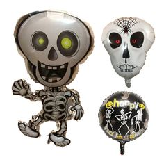 10 Pieces Dancing Skeletons Foil Balloons Skull Helium Balloon Inflatable Toys Globos Halloween Decorations Event Party Supplies #Affiliate