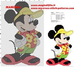 free cross stitch pattern Mickey Mouse Disney on vacation