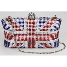 WOMEN S UNION JACK BOX CLUTCH BAG WITH CRYSTAL CLASP