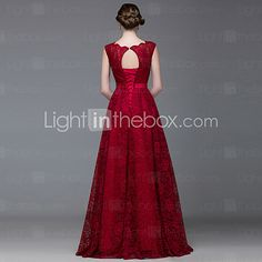 Formal Evening Dress A-line Bateau Floor-length Lace / Satin with Lace / Sash / Ribbon 2016 - $114.66