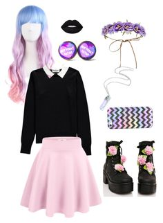 """""""Pastel Goth?"""" by twinkleheartrai ❤ liked on Polyvore featuring Sugarbaby, Casetify, Forever 21, Essentiel, Lime Crime, goth, pastel and pastelgoth"""