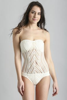 Robin Piccone Sophia Mitered Crochet Bandeau One Piece Bathing Suit | South Moon Under