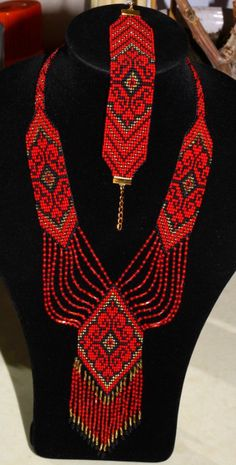 Ukrainian Gerdan and bracelet set, traditional Ukraine necklace, Beaded Necklace, Ukrainian Jewelry, long necklace Folk Ukrainian gerdan Beaded Necklace Patterns, Seed Bead Patterns, Jewelry Patterns, Beading Patterns, Beaded Earrings, Bead Jewellery, Seed Bead Jewelry, Beaded Jewelry, Handmade Jewelry