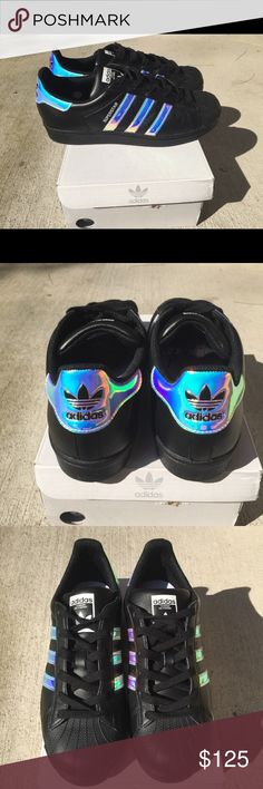 Holographic adidas Women size 7 ▪️Adidas Womens Superstar Size 7 ▫️Custom Made Black leather Holographic style ▫️Brand New ▪️Comes with original box extra laces ▫️Price is Firm Adidas Shoes Sneakers