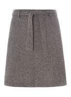 Womens Grey Tie Waisted A-Line Mini Skirt- Black