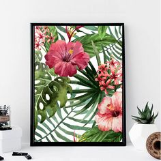 Tropical Flowers Print // Minimalist // Wall Art // Office DIY