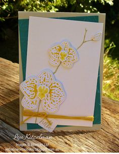 With a bow on top: Please let me stay in my craft room and use my new products! - Climbing Orchid card