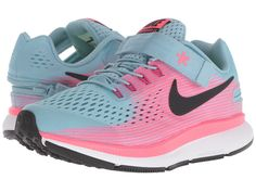 381430e3666a Nike Kids Zoom Pegasus 34 Flyease (Little Kid Big Kid) (Mica Blue Black Racer  Pink Sport Fuchsia) Girls Shoes