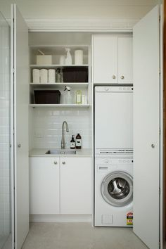 The laundry room is often an overlooked and overworked room in the home. It needs to be functional of course, but what about beautiful? Whether you have a small laundry closet or tiny laundry room, your laundry area can be… Continue Reading → Laundry Cupboard, Laundry Nook, Laundry Room Layouts, Laundry Room Remodel, Laundry Room Cabinets, Small Laundry Rooms, Laundry Room Organization, Laundry In Bathroom, Basement Laundry