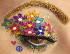 Flower power/ hippy chick eye make up Mundo Hippie, Estilo Hippie, Hippie Party, Hippie Carnaval, Hippie Make Up, Hippie Style, Hippie Chick, Bohemian Style, Makeup Fx