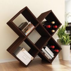 Angled Cube Storage Shelf.  Perfect for storing books and wine -  the necessities.