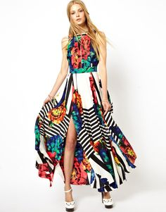 ASOS | ASOS Stripe Sleeveless Floral Maxi Dress at ASOS