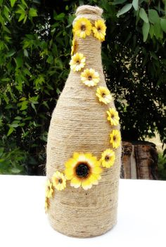 Paper sunflower decor, wrapped wine bottle, decorated wine bottle, rustic…