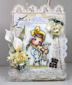Handgemachte Magnolia Papier-Geschenk-Tasche von DeeDeesCardArt