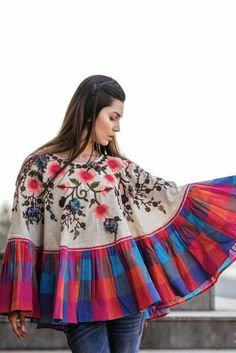 Cream Embroidery Work Khadi Traditional Look Poncho Top Cataloge Whatsapp :- 9377709531 Pakistani Dresses Casual, Casual Dresses, Fashion Dresses, Linen Dresses, Kaftan Tops, Poncho Tops, Short Frocks, Stylish Dresses For Girls, Kurti Designs Party Wear