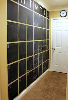 Chalkboard Calendar. If you have a large blank wall in your office or anywhere a GIANT calendar would be useful... HOW awesome would this be?!? Imagine what you could plan?!? You could paint it with MAGNETIC CHALKBOARD PAINT!