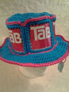 748b785a56d56 TAB Soda CanHead Hat - Coca-Cola Company - Blue Hawaii with Shocking Pink  trim - 6 can panels around the hat