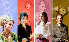 Sininho, Peter Pan, Wendy e Grilo falante.