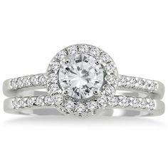 1 1/6 CTW White Diamond Bridal Set in 10K White Gold A beautiful set