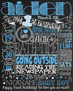 1st Birthday Chalkboard Sign Poster for First Birthday Party