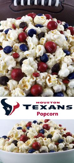 Houston Texans Popcorn for those Houston Texans fans in your life. Sweet, salty, crunchy and delicious and it is extremely easy to make. This delicious popcorn will be perfect at your next game day football party. Houston Texans Party, Houston Texans Football, Football Birthday, Football Food, Super Football, Birthday Games, 8th Birthday, Birthday Ideas, Birthday Parties