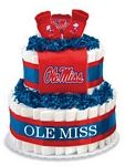"Ole Miss Rebels Diaper Cake - The perfect baby shower gift for the collegiate sports fan! These creations are made from layers of diapers, stacked to look like a cake and filled with licensed collegiate baby products (or as we like to call them, ""ingredients""). The standard diaper cake includes two layers of diapers (40-45), a team t-shirt, knit cap and booties.     Cakes may vary in color or ""ingredients"" with available inventory."