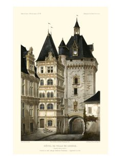 French Chateaux in Blue III Giclee Print by Victor Petit at Art.com
