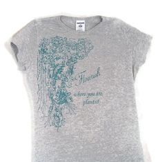Screenprinted Tee Floral Design and Text Gray with by TeezLoueez,