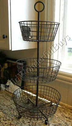 FRENCH COUNTRY 3 Tier Metal FRUIT BASKET Market Antique Bronze NEW