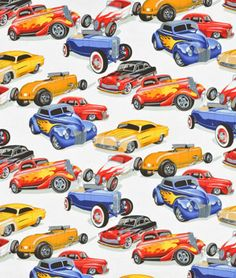 Alexander Henry Hot Rods Natural Fabric