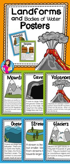 Brighten up your science bulletin board with these 22 colorful Landforms and Bodies of Water Posters. They are the perfect companion to your Landforms Unit!  https://www.teacherspayteachers.com/Product/Landforms-Posters-2654027