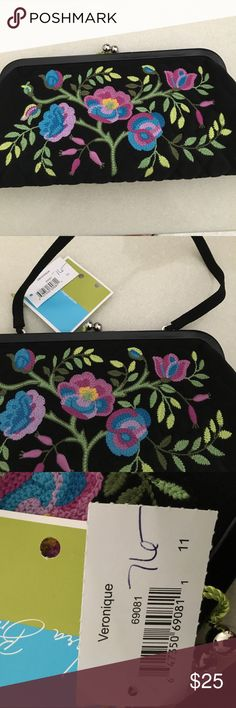 """Vera Bradley Silk Embroidered Veronique Clutch Beautiful evening Bag embroidered on black silk. Measures 5""""h x 12""""w Vera Bradley Bags Clutches & Wristlets"""