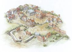 17th-century Spitalfields: this reconstruction shows what the area around the present day market looked like around 1640. The image shows the practice 'Star Fort' of the Artillery Company (on the left) and the aristocratic enclave that developed after of St Mary Spital was closed shortly the Henry VIII's Dissolution of 1538. Bishopsgate runs at the top of the picture. Star Fort, Historical Illustrations, Old London, Present Day, Image Shows, 17th Century, Warfare, Archaeology, Netherlands