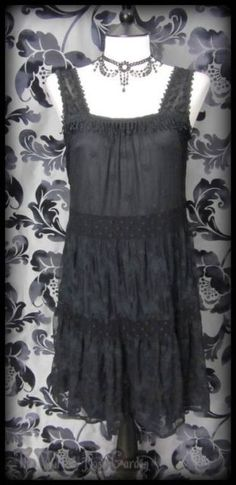 Gorgeous Goth Black Lace Tiered Party Dress 10 Flapper 20's Vintage Romantic | THE WILTED ROSE GARDEN on eBay // Worldwide Shipping Available
