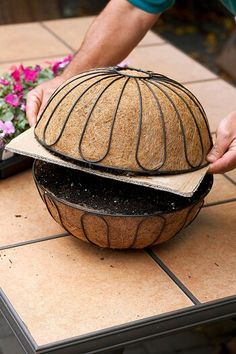 Maximize your flower power with this hanging sphere planter. In no time, your plants will grow into a stunning ball of color. Petunia Hanging Baskets, Plants For Hanging Baskets, Baskets On Wall, Basket Planters, Fall Planters, Garden Planters, Hanging Flowers Wedding, Hanging Flower Baskets, Outdoor Flowers